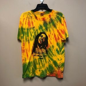Tie Dye bob Marley Tee one love one heart Jamaica